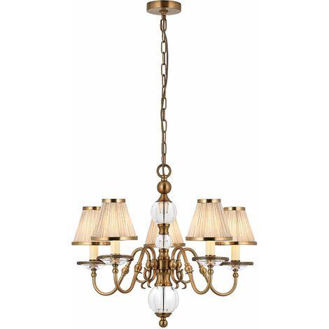 Tilburg chandelier, antique brass 5 lights with beige shades