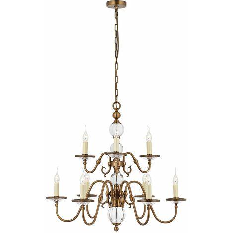 Tilburg chandelier, antique brass 9 lights