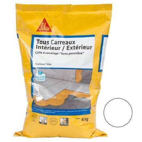Tile adhesive for all interior and exterior tiles (C2-ET) - SIKA SikaCeram Xtra - White - 4kg