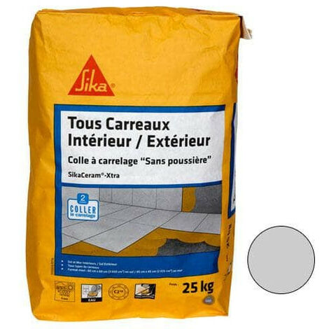 Tile adhesive for all tiles inside and outside (C2-ET) - SIKA SikaCeram Xtra - Grey - 25kg