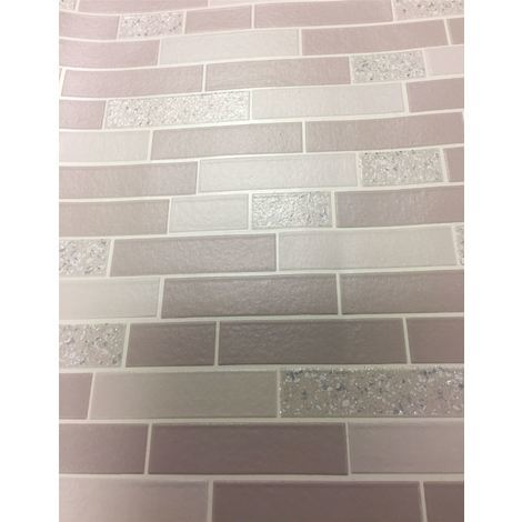 Tile Effect Wallpaper Glitter Brick Oblong Granite Stone Kitchen Bathroom Holden