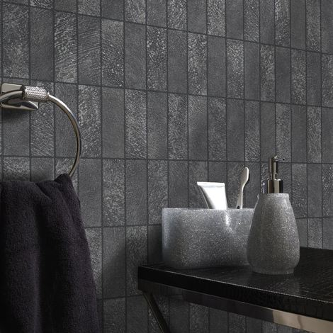 Tile Effect Wallpaper Kitchen Bathroom Brick Slate Embossed Vinyl