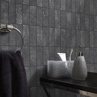 Tile Effect Wallpaper Kitchen Bathroom Brick Slate Embossed Vinyl Black Holden