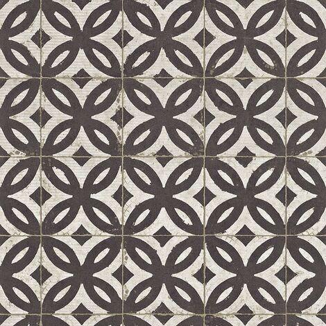 Tile Effect Wallpaper Rasch Black White Textured Vinyl Paste The Wall