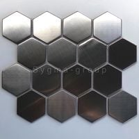 Tile hexagonal metal mosaic brushed kitchen backsplash Kiel