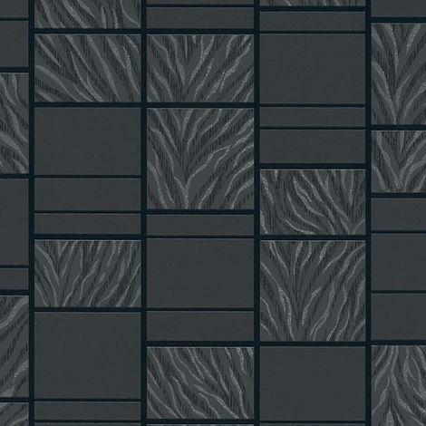 Tile Tiger Stripe Wallpaper Black Textured Embossed Vinyl Rasch Metallic Glitter