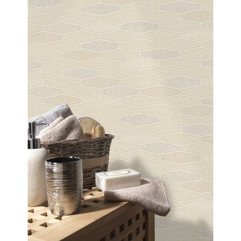 Tile Wallpaper Brick Effect Glitter Apex Washable Vinyl Kitchen Bathroom Cream