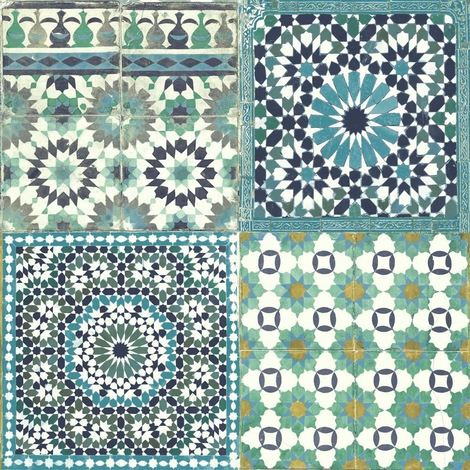 Tile Wallpaper Moroccan Botanical Mediterranean Retro Vintage Teal Blue Green