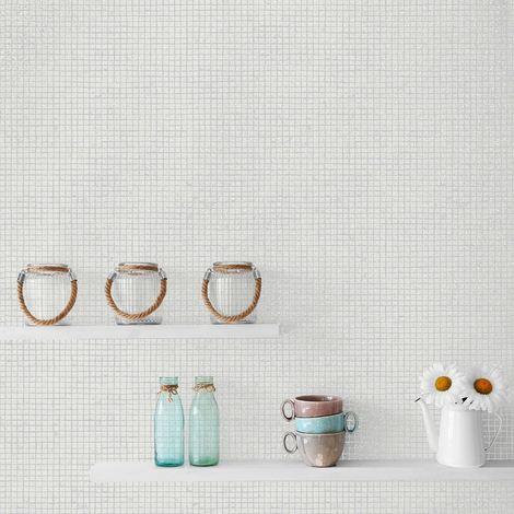 Tile Wallpaper Mosaic Glitter Effect White Grey Kitchen Bathroom Washable Vinyl