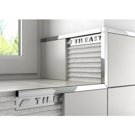 Tileasy 10mm Chrome Boxed Metal Tile Trim - CBT10