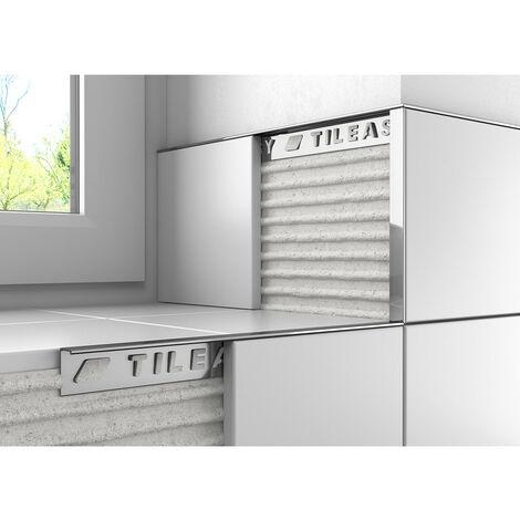Tileasy 10mm Chrome Square Edge Metal Tile Trim - CAT10