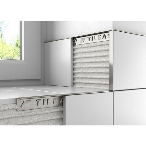Tileasy 10mm Stainless Steel Effect Square Edge Metal Tile Trim - SAT10
