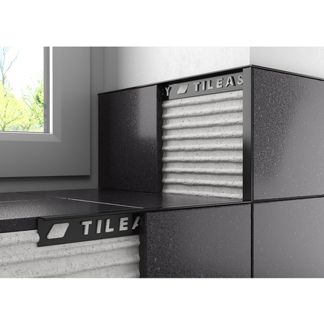 Tileasy 12mm Black Square Edge Metal Tile Trim - BAT12