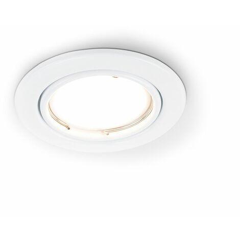 Tiltable Steel Ceiling Recessed Spotlight + 5W Cool White LED GU10 Bulb - Gloss White - White