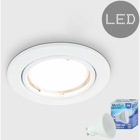 Tiltable Steel Ceiling Recessed Spotlight + 5W Warm White LED GU10 Bulb - Gloss White - White