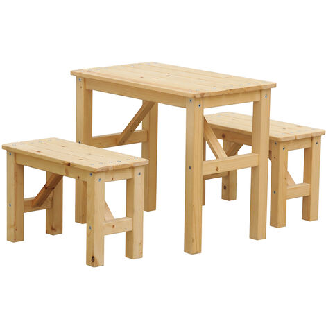 Timbela M014 Picknicktischset für Kinder - 60x36xH51 47x21xH20 cm - für draußen oder drinnen