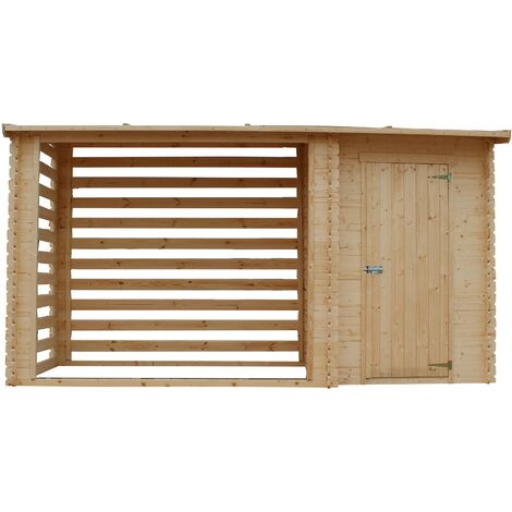 "main image of ""TIMBELA M205 Caseta de jardín con leñera - Caseta de pino / abeto - H199 x 348 x 146 cm- 2,54 m2+1,1 m2"""