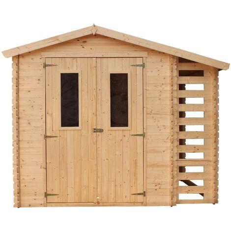 """main image of """"TIMBELA M386C+M386G Caseta de jardín con caseta de leña para exterior con suelo - Caseta de pino / abeto - H218 x 272 x 206 cm / 3,53 + 0,97 m2"""""""