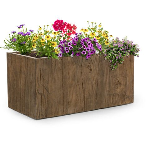 """main image of """"Timberflor Bac à fleurs 80 x 40 x 40 cm fibre de verre - marron"""""""