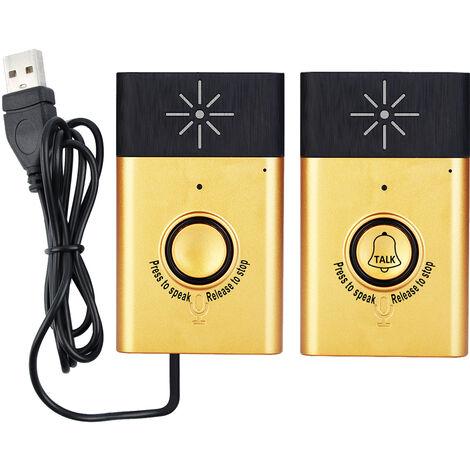 Timbre de intercomunicacion, con 1 * boton de unidad exterior, 1 * receptor de unidad interior,Dorado