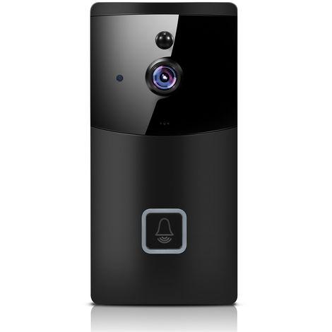 Timbre inalambrico 2.4G WiFi, camara de seguridad WiFi HD 1080P, negro