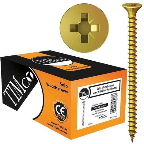 TIMco 4.0 x 20mm Solo Zinc & Yellow Woodscrew Qty 200