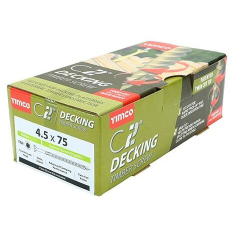 """main image of """"TIMco 4.5 x 75mm C2 Green Countersunk Decking Screw Qty 250 Box"""""""