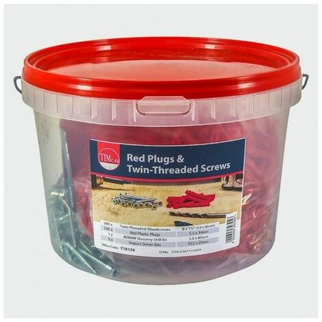 TIMco 778159 Screw and Premium Plug - Red 34mm Tub of 500