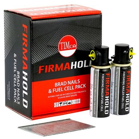 Timco BG1664G Firmahold Straight Brad Nails Galvanised 16G x 64mm Box of 2000 & 2 x Fuel Cells