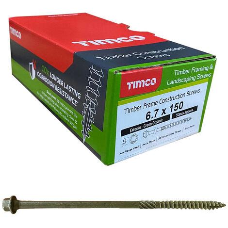 Timco Index Hex Head Timber Screw 6.7 x 150mm - Organic Green 50 Box