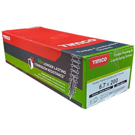 Timco Index Hex Head Timber Screw 6.7 x 200mm - Organic Green 50 Box