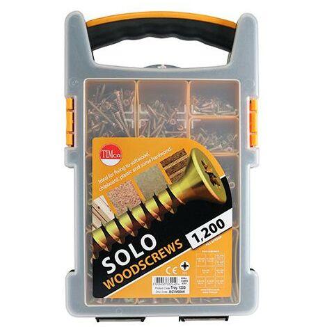 TIMco Solo Zinc & Yellow Cross Recess Woodscrews Mixed Tray 1200pcs