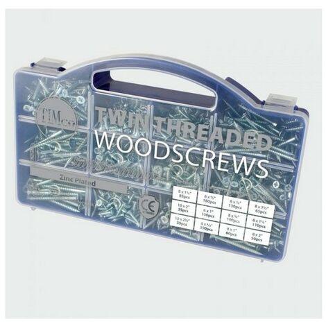 TIMco WOODTRAY Twin Woodscrew Mixed Tray