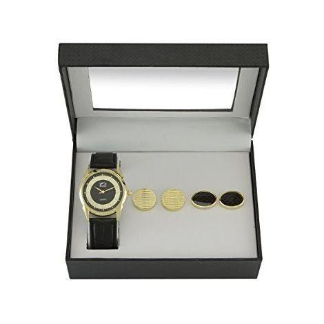 Time Design Men Gent Quartz Analogue Watch Black Gold wih Cufflinks, 2 Pack