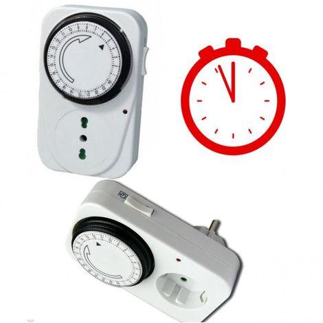 TIMER 24 ORE PRESA CON OROLOGIO TEMPORIZZATORE PROGRAMMA CLOCK TEMPO SPINA LUCE