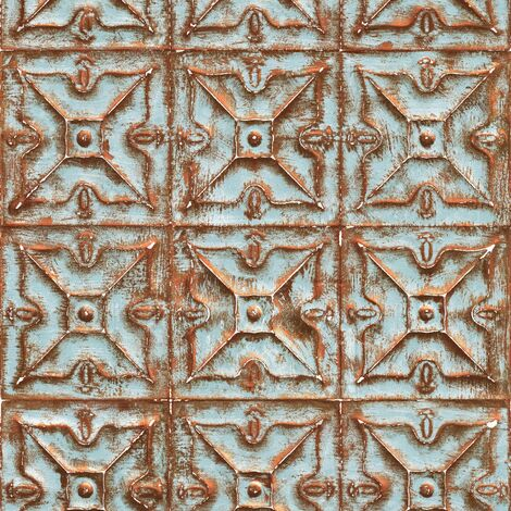 Tin Tile Effect Wallpaper Metallic Rustic Blue Copper Vinyl Paste The Wall