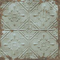Tin Tile Wallpaper Urban Prints Metallic Metal Modern Teal Fine Decor