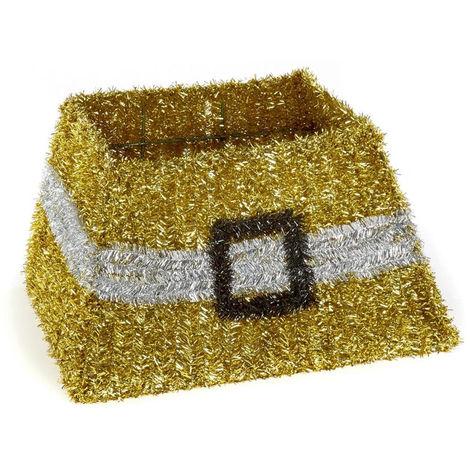 Tinsel Christmas Tree Skirt Gold