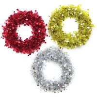 Tinsel Wreath 24cm Red/Silver/Gold UBL