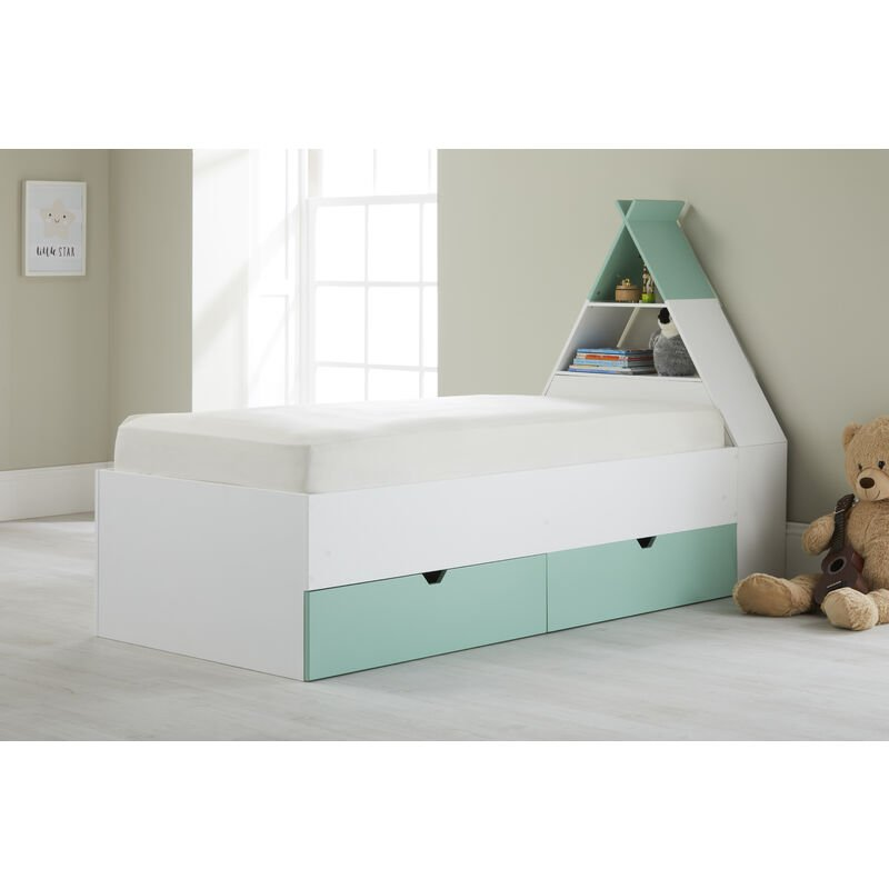 Image of Tipi' Cabin Bed with Headboard Storage and 2 Drawers White/Green