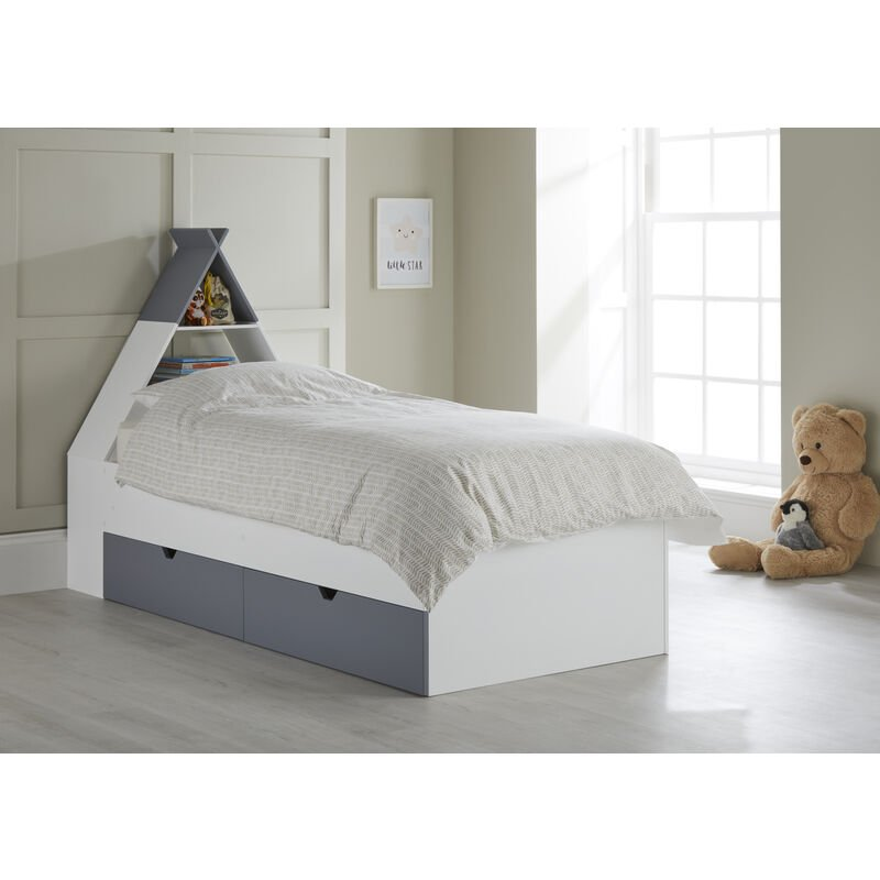 Image of Tipi' Cabin Bed with Headboard Storage and 2 Drawers White/Grey