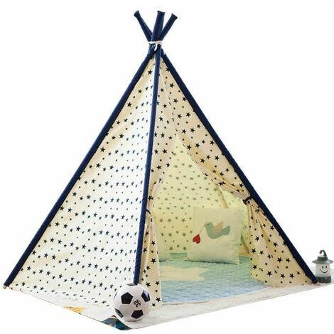 Tipi Enfant Int��rieur Ext��rieur Grande Tente De Jeu Fille & Gar?on Toile Teepee Chambre avec 1 Fen��tre 1 Pochette 1 Sac Portable