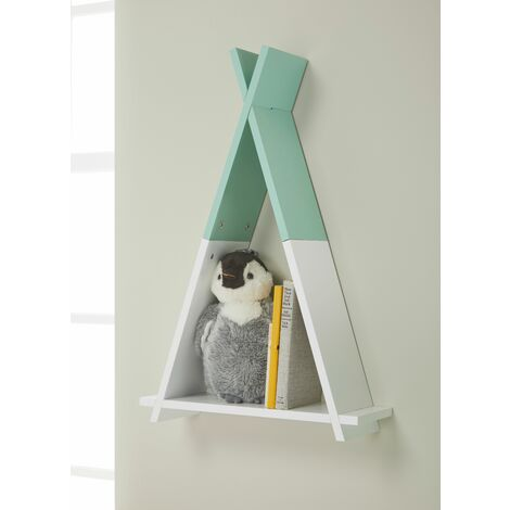 Tipi Green/White Wall Mounted Children's Storage Shelf
