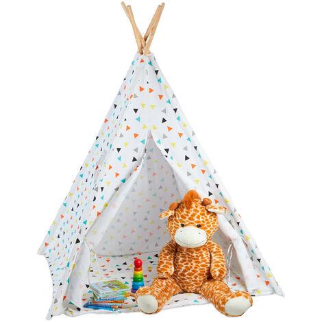 Tipi Infantil, Tienda Campaña, Casita para Niños con Bolsa, Lino-Madera, 160 x 115 x 115 cm, Blanco-Multicolor