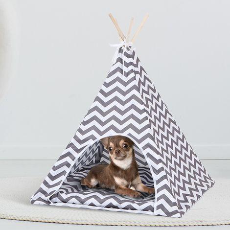 Tipi pour animaux petit modèle design scandinave gris et blanc