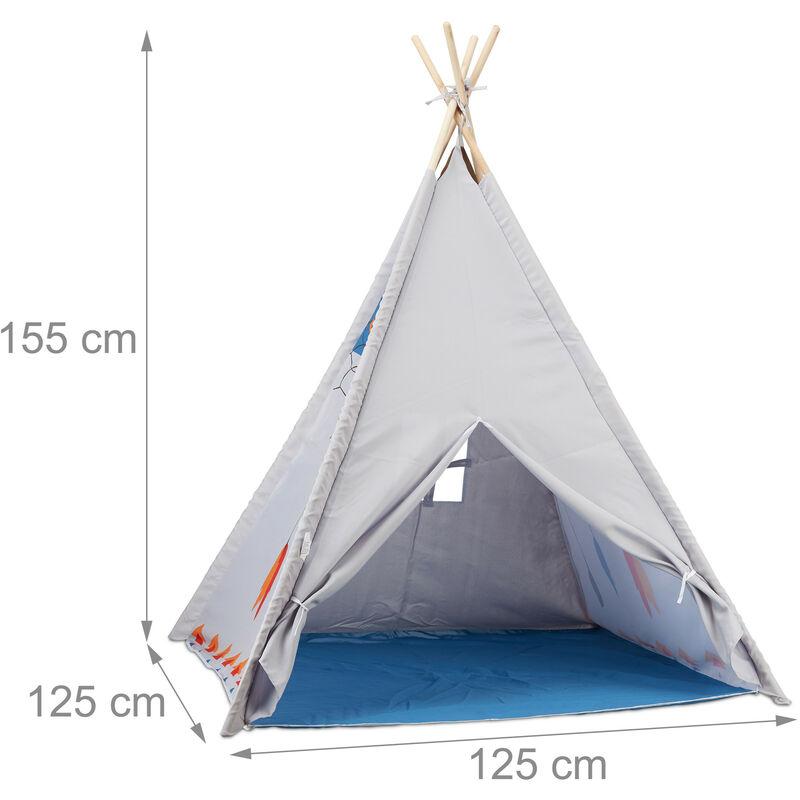 Tipi Spielzelt, Tipi Zelt Kinderzimmer, Kinderzelt Drinnen und Draußen, ab  3, HxBxT: 155 x 125 x 125 cm, grau