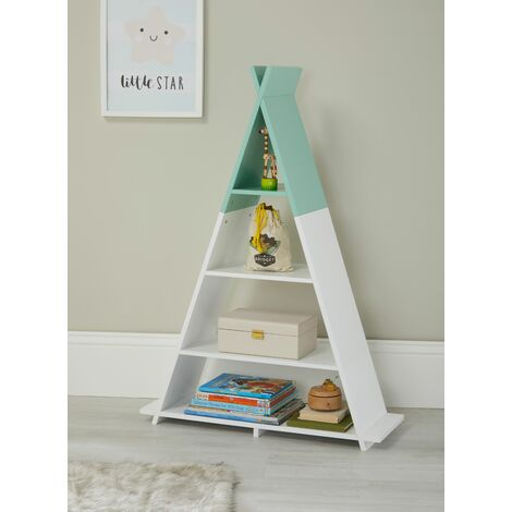 Tipi Style White/Green Children's Floor Shelving Storage Unit