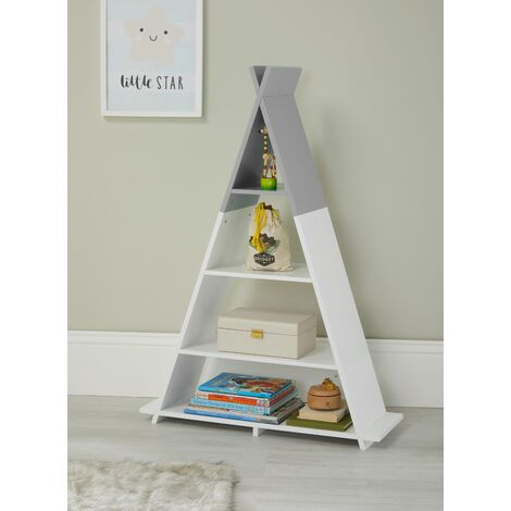 Tipi Style White/Grey Children's Floor Shelving Storage Unit