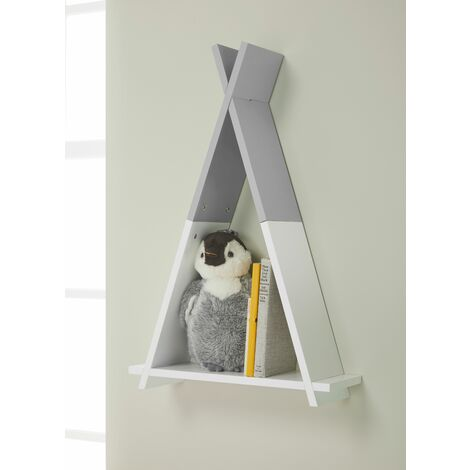 Tipi White/Grey Wall Mounted Children's Storage Shelf