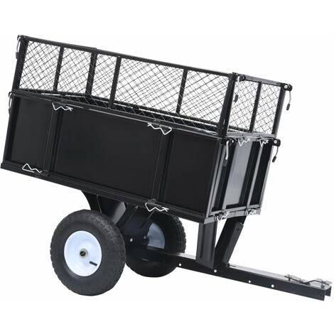 """main image of """"Tipping Trailer for Lawn Tractor 150 kg Load - Black"""""""